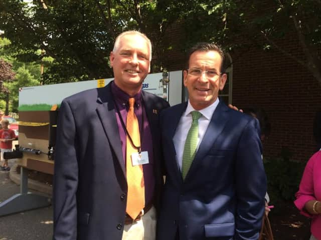 Wilton Family YMCA Executive Director Bob McDowell meets last week with Gov. Dannel Malloy.
