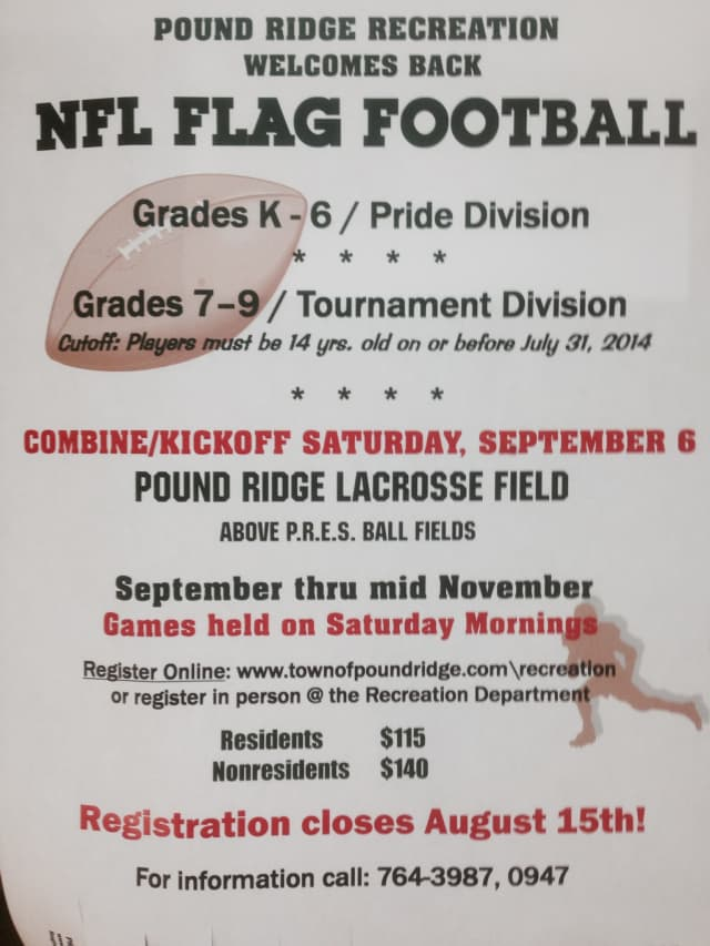 Pound Ridge Recreation is holding open registration for its NFL Flag Football.