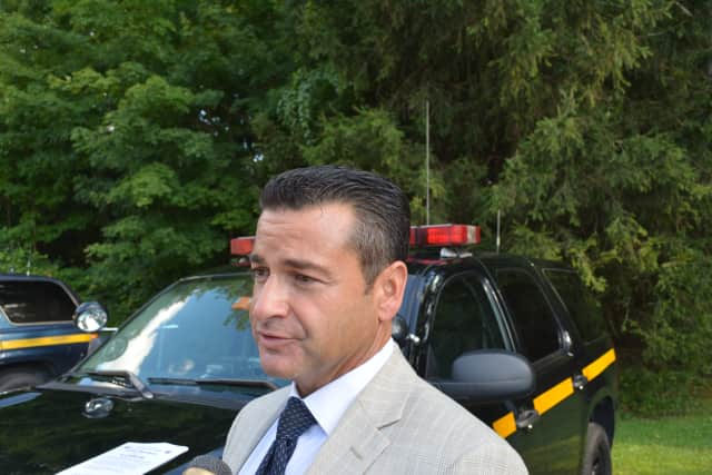 New York State Police Investigator Joseph Becerra speaks with the media about the stabbing.