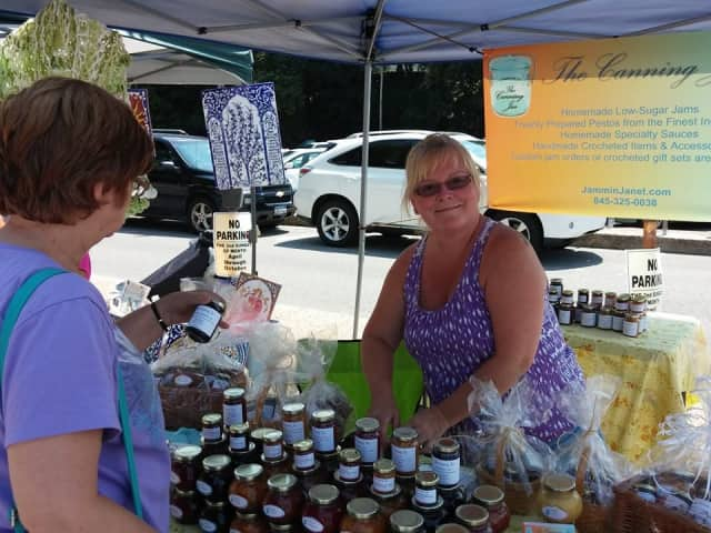 Millbrook's Janet Wendover with The Canning Jar at the Hastings Flea in August sells homemade jams, pestos and crafts.