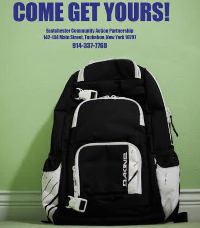Eastchester families can pick up the supplied backpacks on Thursday in Tuckahoe.