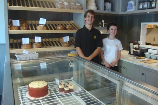 Managers Tyler Holder and Pauline Michel-Vencer are excited to open SoNo Baking Company's newest location in Darien.