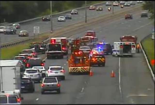 I-84 west is blocked by a two-vehicle accident between Exits 7 and 6 in Danbury on Thursday afternoon.
