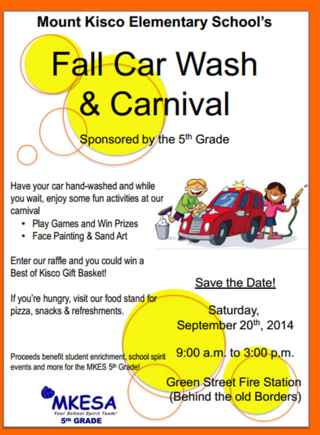 Wash your car and visit activities at Mount Kisco Elementary School's car wash and carnival.