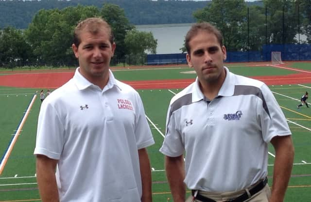 Irvington High School varsity boys lacrosse coach Drew Werney and Mercy College coach Jordan Levine.