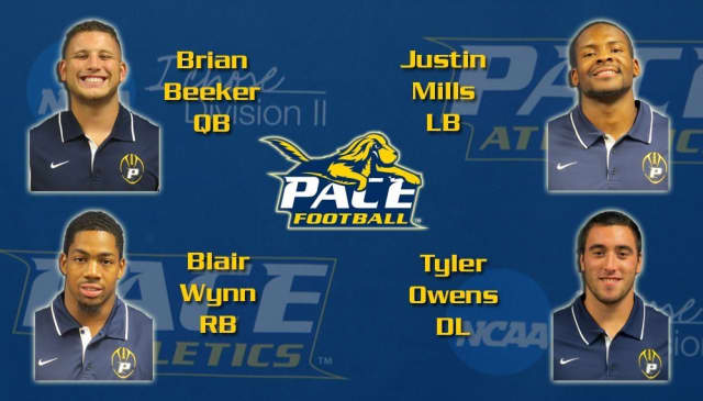 Pace University football names its captains: Brian Bleeker, Justin Mills, Blair Wynn and Tyler Owens.