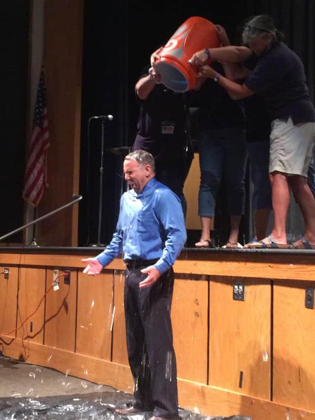 James Kaishian, superintendent of Briarcliff Manor School District, completes ALS Ice Bucket Challenge.