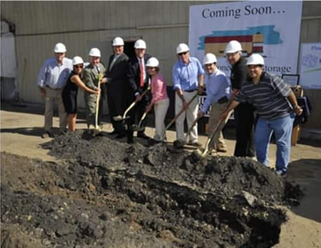 At the ground breaking for Mamaroneck Self-Storage are (from left) Chris Murphy, Kim Martelli, John Ravitz, Kevin Plunkett, Rose Silvestro,