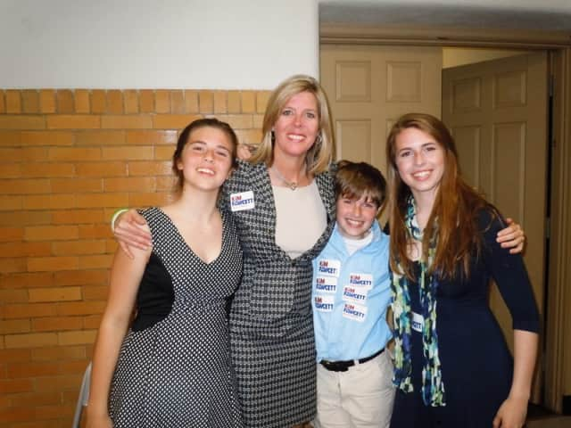 State Senate candidate Kim Fawcett with her children, (from left) Cassie, Nicholas and Kylie Fawcett
