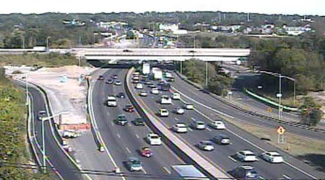 Traffic on the Northbound side of the I-95 (right) was congested in Fairfield County on Friday afternoon.