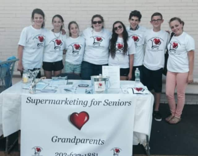 JCC Greenwich Teen Action Committee students raised funds to benefit a grocery shopping program for homebound senior citizens.