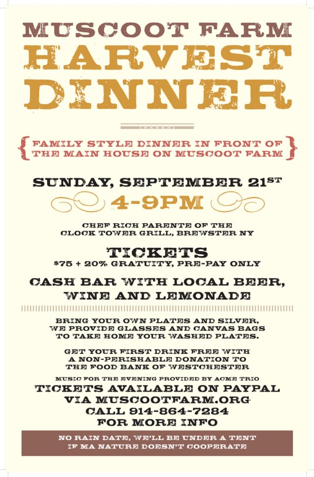 The Muscoot Farm is hosting a family-style dinner on Sep. 21