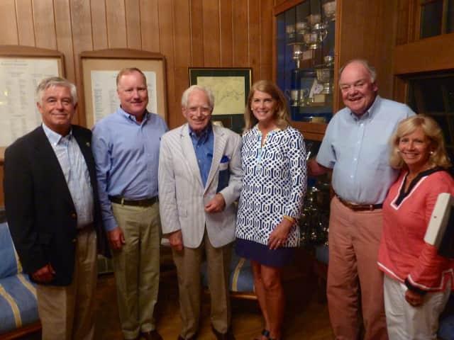 Pictured are (from left) Selectmen Kip Hall and Jerry Nielsen, Commissioner Link Jewett, First Selectman Jayme Stevenson, Commissioner Sandy McDonald, Selectman Susan Marks.