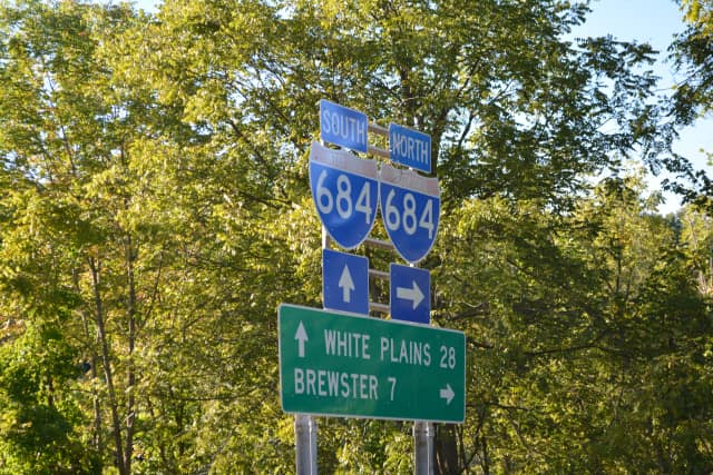 A directions sign for Interstate 684 in North Salem.