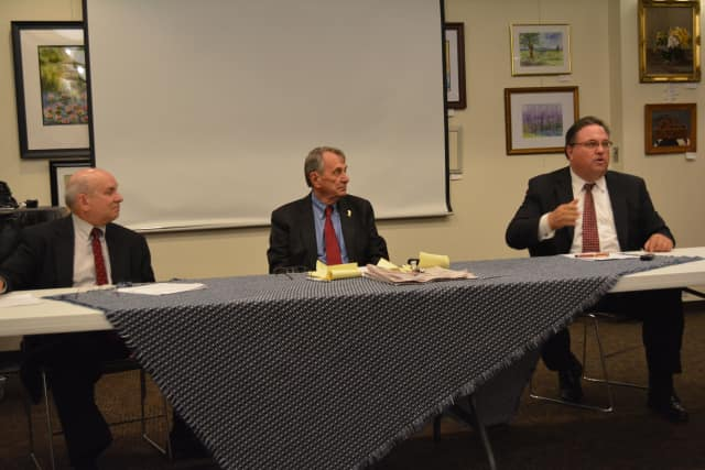 Lewisboro Supervisor Peter Parsons, center, at the State of the Towns forum in Katonah.