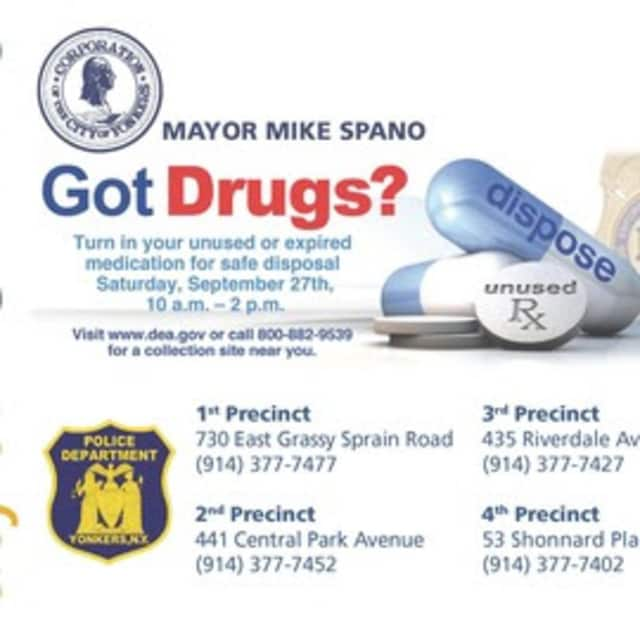 The Yonkers Police Department is participating in a drugs take-back initiative.