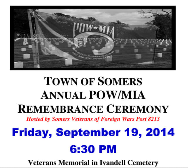 The annual POW/MIA Remembrance Ceremony will be at 6:30 p.m. on Friday, Sept. 19 at the Veterans Memorial in Ivandell Cemetery.