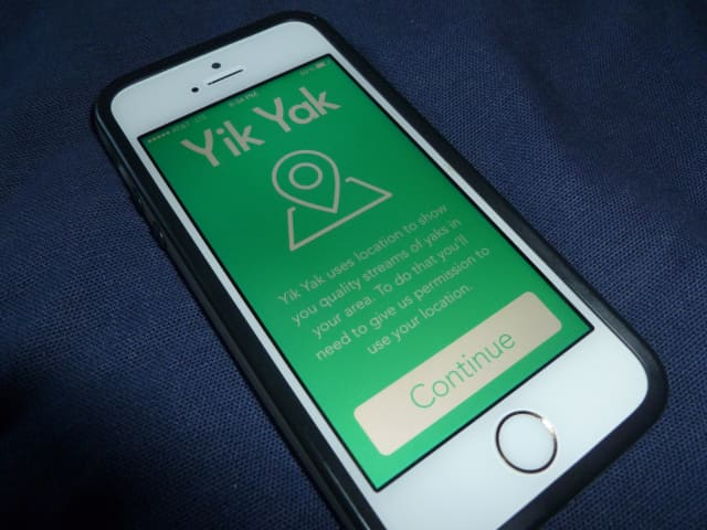 """Yik Yak bears the slogan, """"Share your thoughts. Keep Your Privacy."""""""