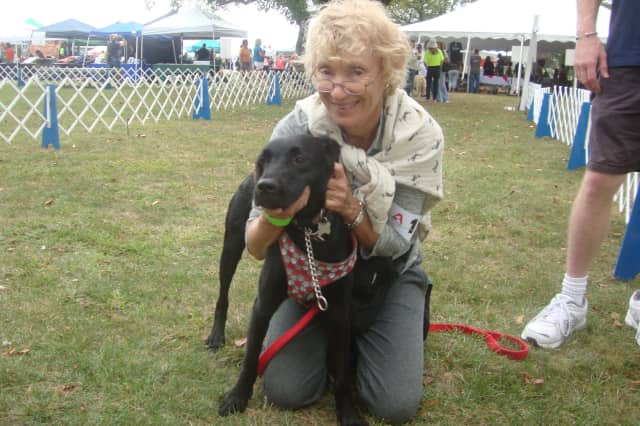Ana Heller and her dog, Odette, at Adopt-A-Dog's Puttin' On The Dog festival in Greenwich in 2014.
