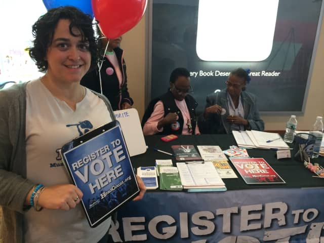 Voter registration drives like this one in 2015 are one of the activities of the White Plains League of Women Voters.