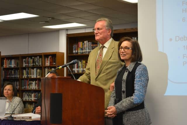 John Chambers and Deborah Raizes at the Katonah-Lewisboro school board's Sept. 15 meeting.