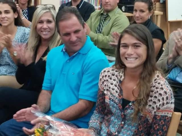 Elmsford's Jenna Fanelli, right, with her parents to her left at Tuesday, Sept. 23 Pocantico Hills Board meeting.