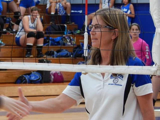 Diane Swertfager, volleyball coach at Hendrick Hudson High School, earns 500th win.