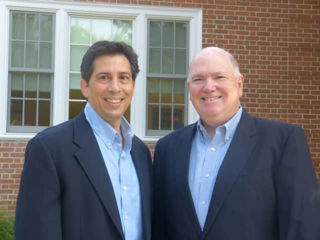 Michael Burke and Tony Imbimbo kicked off their campaigns Sept. 22 to fill two seats on the Darien Board of Education.