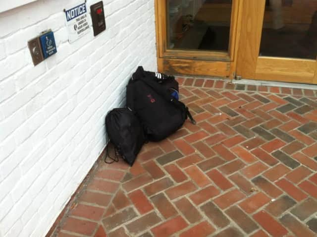 These backpacks prompted a bomb scare at the Wilton Library. Police determined they had been left near the door inadvertently.