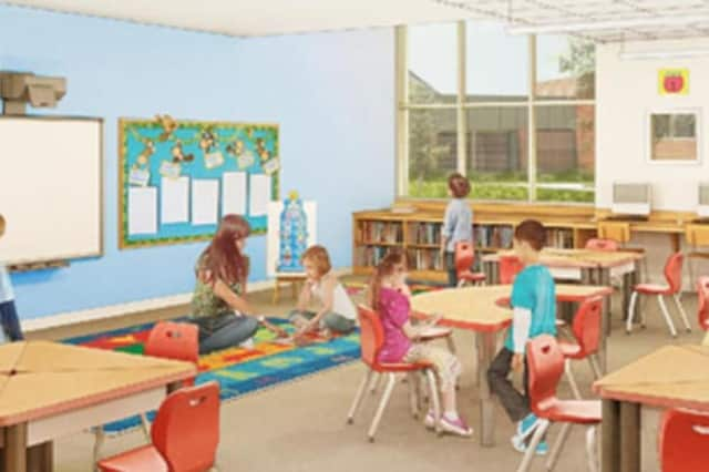 This is an artist's rendering of a renovated classroom at The Miller-Driscoll School in Wilton.