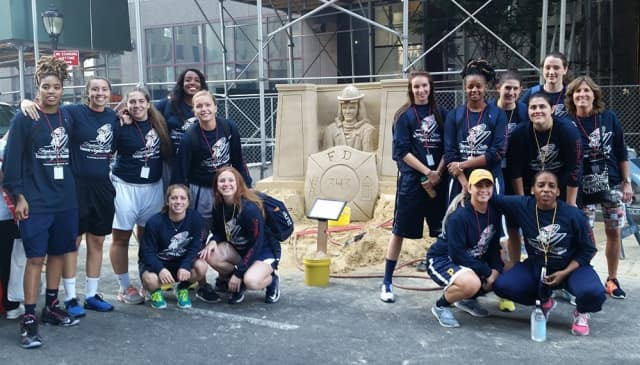 The Pace University women's basketball team gathers each year to participate or volunteer in the Stephen Siller Tunnel To Towers Run.
