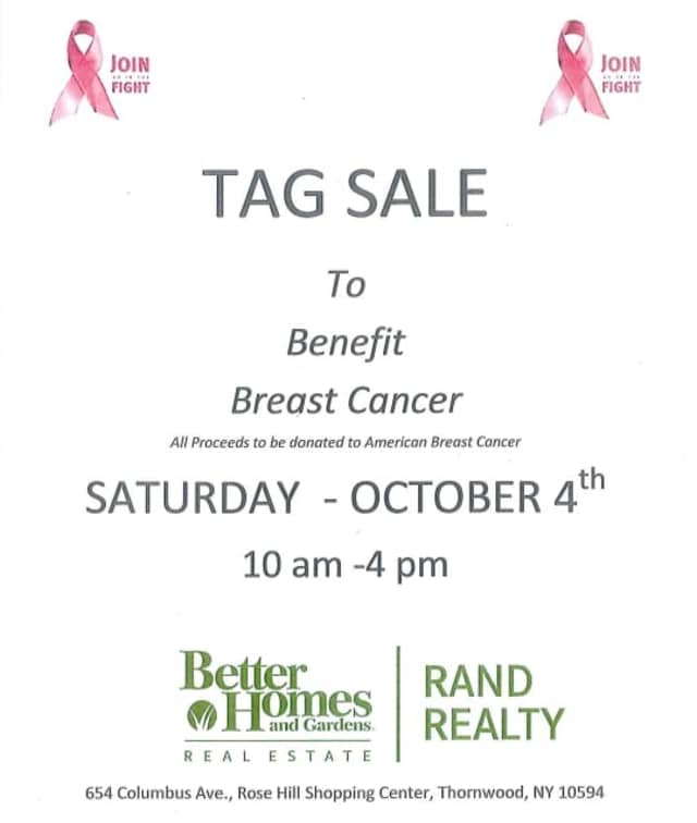 Better Homes and Gardens Real Estate and Rand Realty join to fight against breast cancer with a tag sale.