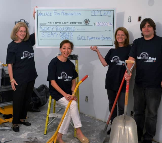 From left, Gail Harrison Roman,trustee, Wallace Fox Foundation; Helen Gates (seated), executive director, RAC; Jennifer Howard, owner, JWH Design; and Adam Levi, RAC senior director.