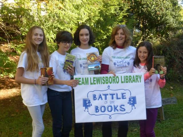 From left: Catherine Curry, Faith Willett, Eliza Wein, Teen Librarian Dolores Antonetz, Liliana Carey.