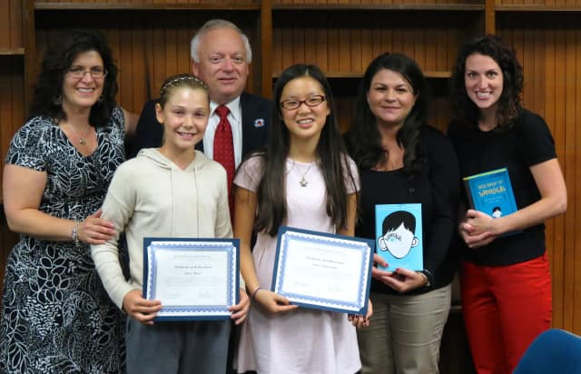 From left, Board of Education President Giuseppina Miller, Pierre Van Cortlandt student Grace Reyer, Superintendent of Schools Dr. Edward Fuhrman, student Emma Campanella, teacher Dawn Giordano and teacher Lauren Scollins.