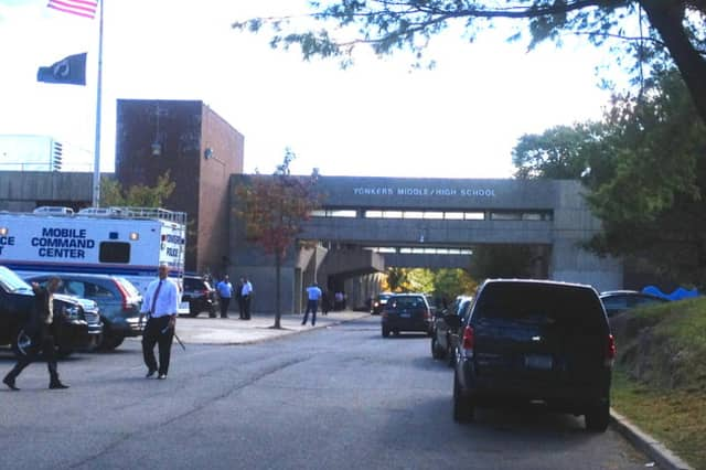 Emergency vehicles on scene at Yonkers Middle School on Wednesday, Oct. 8