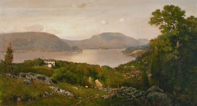 Frank Anderson (American, 1844-1891) View of the Hudson River from Peekskill, NY, 1887. Signed lower left. Oil on Canvas. Size 20 x 36 inches.