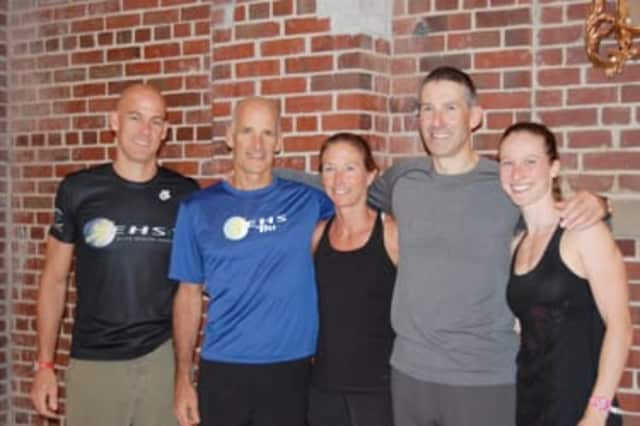 Athletes (from left) Mitch West, Mike Christie, Tara Kupersmith, Stephen Redwood and Anja Krieger-Redwood have been training together at the Greenwich YMCA.