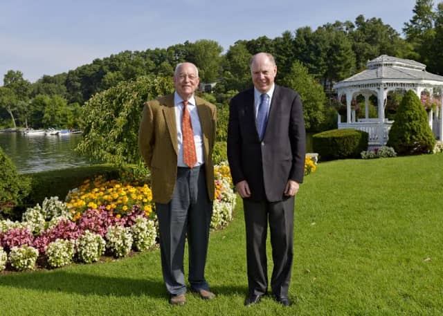 Longtime business partners John Royce and Thomas Montague were honored by Western Connecticut State University.