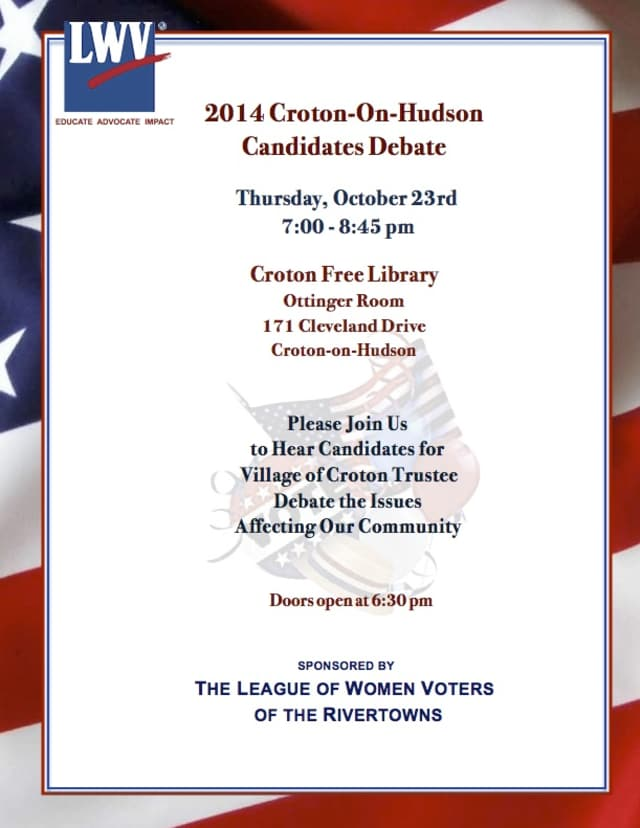 Join the League of Women Voters for a candidate's forum on Thursday, Oct. 23.