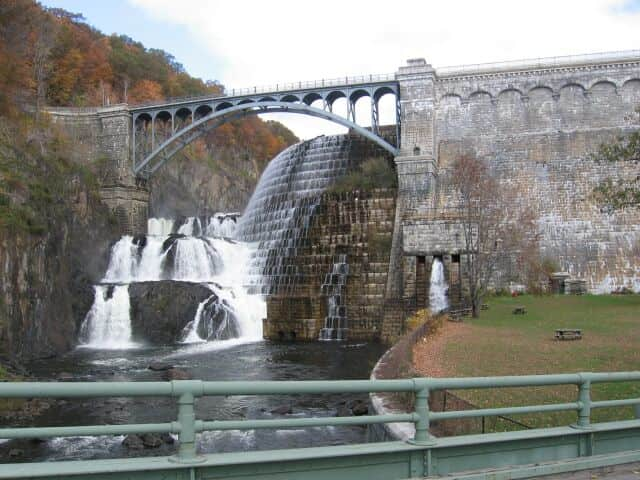 The Croton Dam in Croton-on-Hudson is part of New York City's water supply system. About 22 miles north of Manhattan, it impounds 19 billion gallons of water, a small fraction of the 580 billion gallons in the system itself.