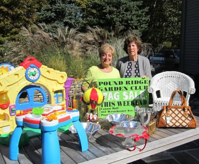 Virginia Todar, left, and Nancy Limbert, co-chairs of the tag sale, are shown with some of the goodies planned for sale at the Pound Ridge Garden Club tag sale on Saturday and Sunday, Oct 18 and 19, at Conant Hall, 257 Westchester Ave