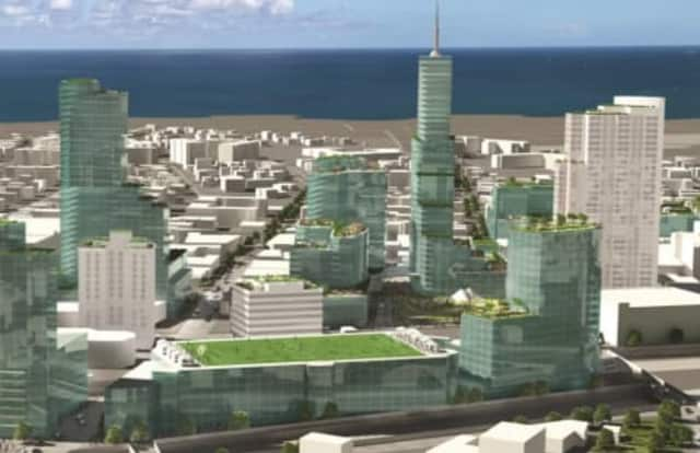 An artist's rendering of what downtown New Rochelle could look like following its redevelopment.