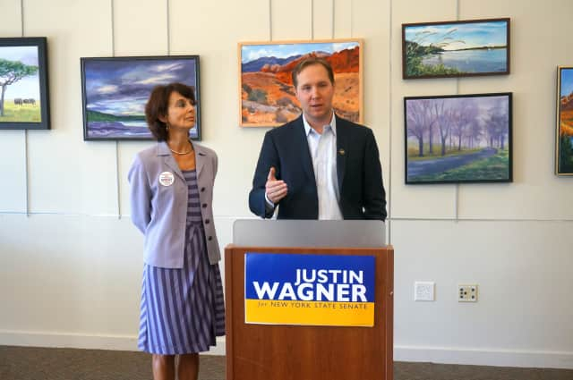 Democrat Justin Wagner announced his endorsement by New Yorkers Against Gun Violence at the Mount Kisco Library.