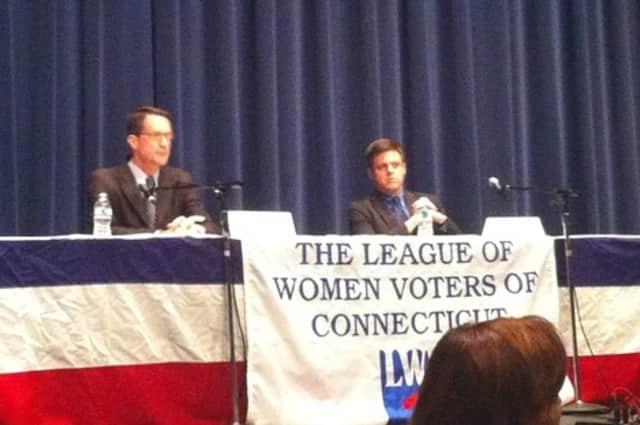 Democrat Jim Himes and Republican Dan Debicella meet in a debate at Wilton High School Sunday.