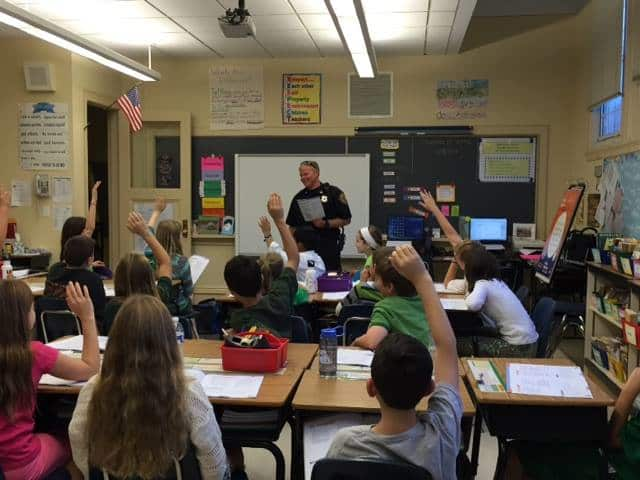 The Main Street School fifth- graders are participating in the DARE program with Police Officer Erik Seman.