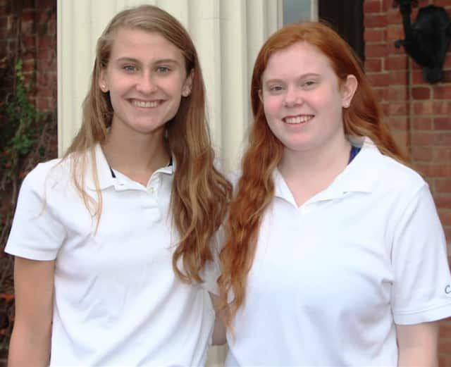 Grace Isford, left, and Virginia Blessing, were named National Merit semifinalists. Both Greenwich girls attend the Convent of the Sacred Heart.