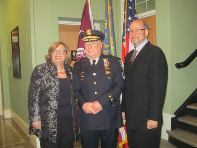 Town Supervisor Susan Donnelly, Village Police Chief Joseph Burton and Village Mayor Bill Hanauer at a press conference in Ossining.