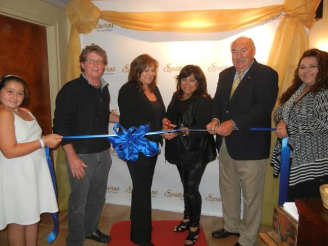 Mayor Michael Cindrich and Chamber President Kevin Kane host a ribbon cutting event at Epidavros Day Spa & Salon to celebrate the new ownership of Nadina Pataro and Barbara Adamo.