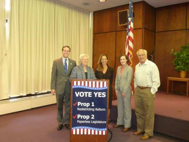 Amy Paulin and other state Assembly members spoke to promote two constitutional amendments that will be on the ballot in November.